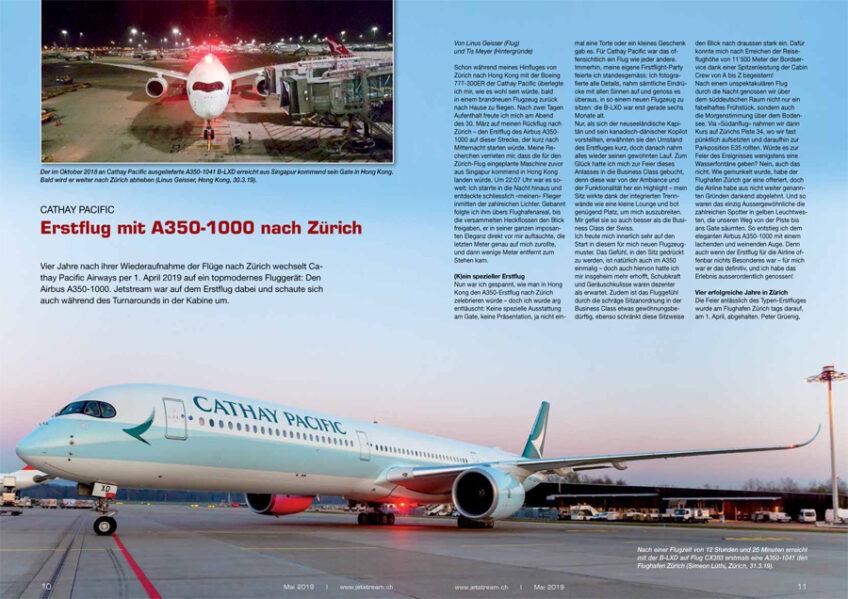 Erstflug: Cathay Pacific mit A350-1000 nach Zürich