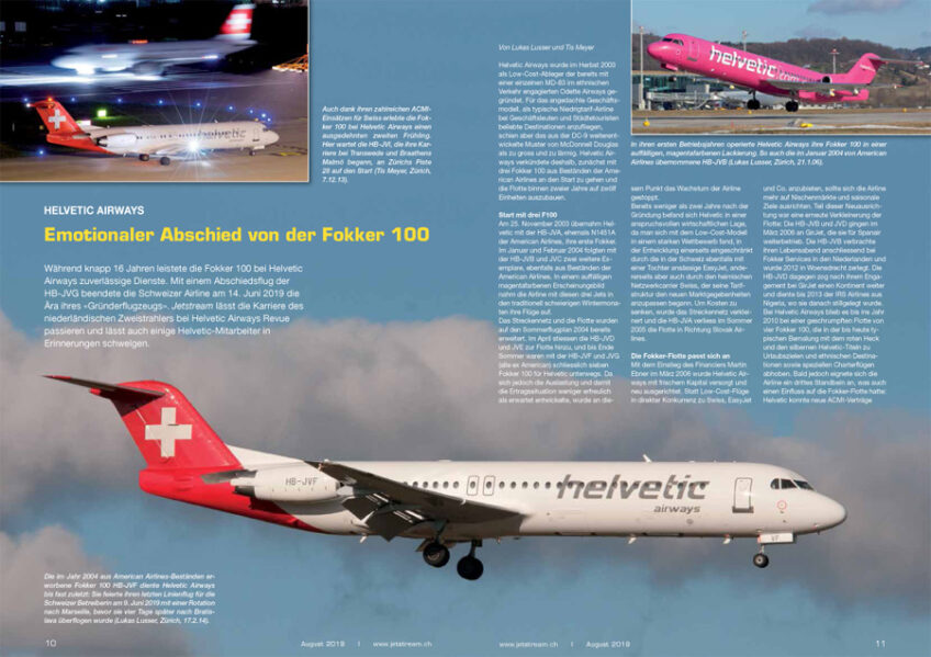 Helvetic Airways: Emotionaler Abschied von der Fokker 100