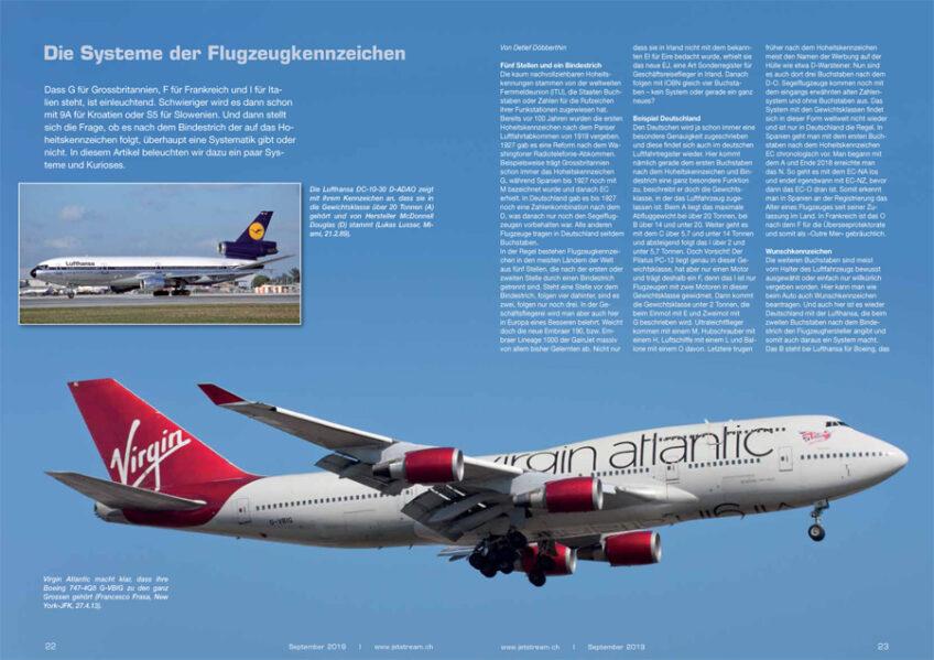 Die Systeme der Flugzeug-Kennzeichen
