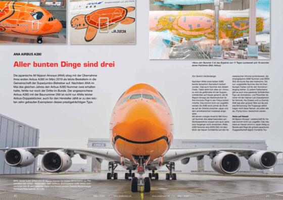 ANA Airbus A380: Aller bunten Dinge sind drei