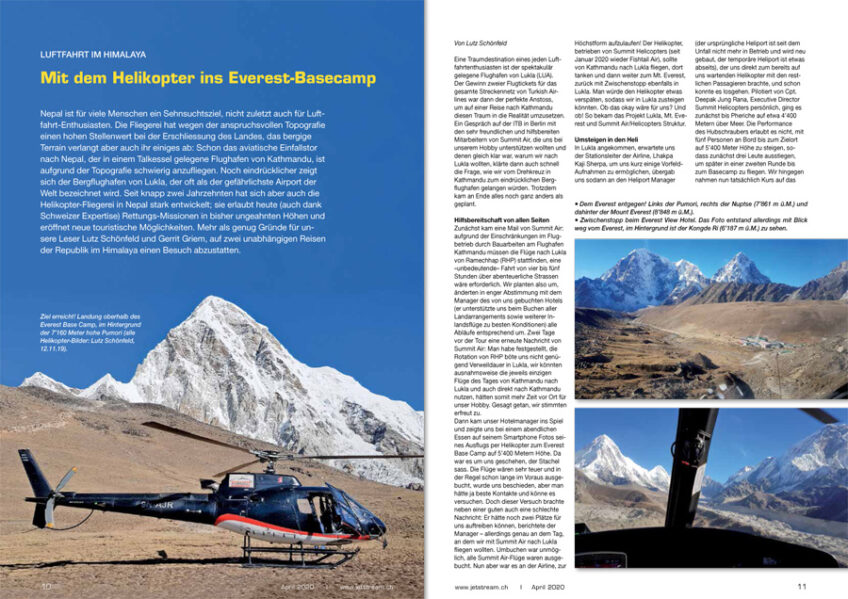 Fokus Nepal: Per Heli ins Everest-Basecamp; Spotting KTM/LUA