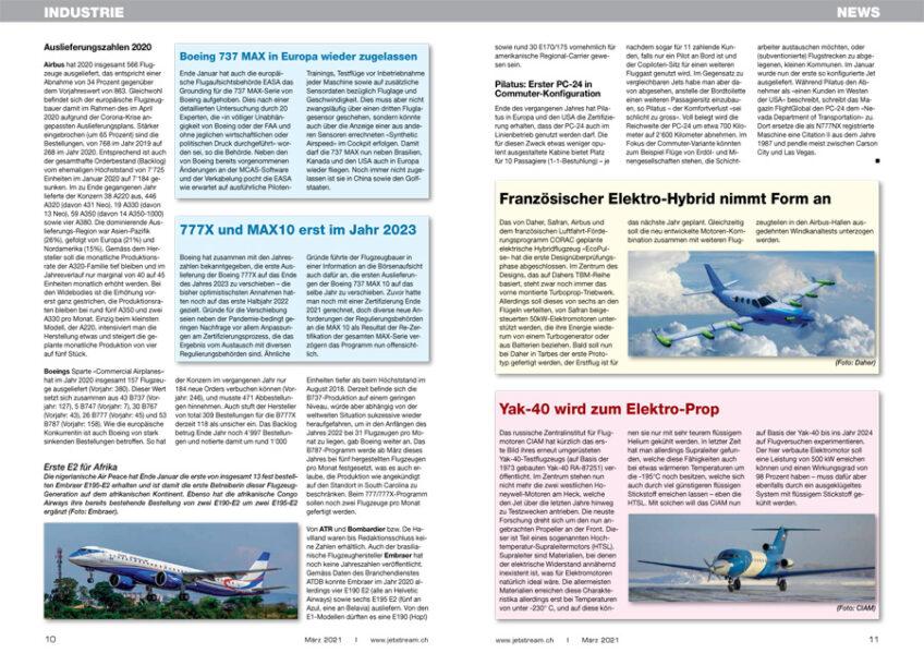 Aktuelles aus der Flugzeug-Industrie